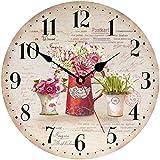 TAHEAT 34 cm Vistoso Flores Reloj de Pared, De Madera Rústico País Relojes Decorativo Preciso Legible Reloj de Pared para Sala de Estar/ Cuarto/ Baño/ Cocina