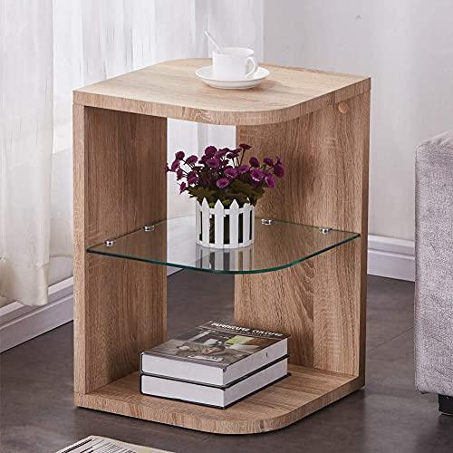 Mesa auxiliar de madera de cristal, pequeña lámpara de mesa de café con almacenamiento para sala de estar/dormitorio, acabado de roble