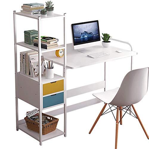 QFWM Computadora DeskStudy - Estantería de escritorio con estantes de almacenamiento, cajones, muebles de oficina para el hogar o escritorio para computadora portátil (tamaño grande; color: blanco)