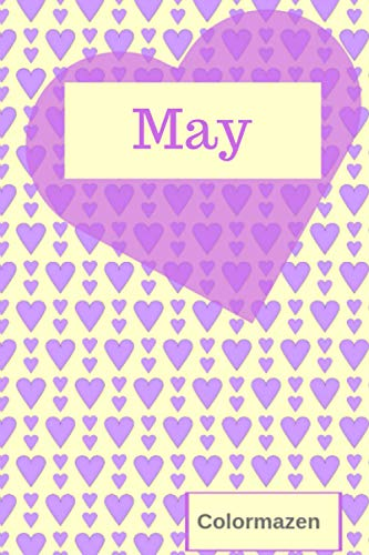 May: Personalised Valentine Heart Notebook In Purple (Small) (Valentine Heart Personalised Notebooks)