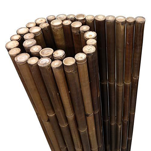 DE-COmmerce Extrem Stabiler Bambus Holz Sichtschutz Zaun XL hochwertiger Windschutz mit geschlossenen und versiegelten Bambusrohren (HxB) 200 cm x 180 cm nigra