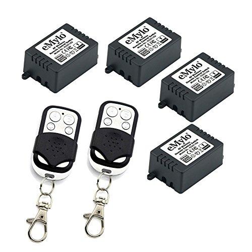 eMylo 4 x 1 Kanal HF Relaisschalter HF Wechselstrom 220V-230V-240V 1000W Smart Wireless-Fernbedienungsschalter Relaismodul EIN Aus Schalter mit 2 Schwarz Weiß Farbsendern