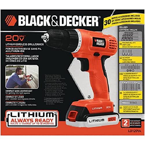 BLACK+DECKER 20V MAX Cordless Drill / Driver with 30-Piece Accessories (LD120VA)