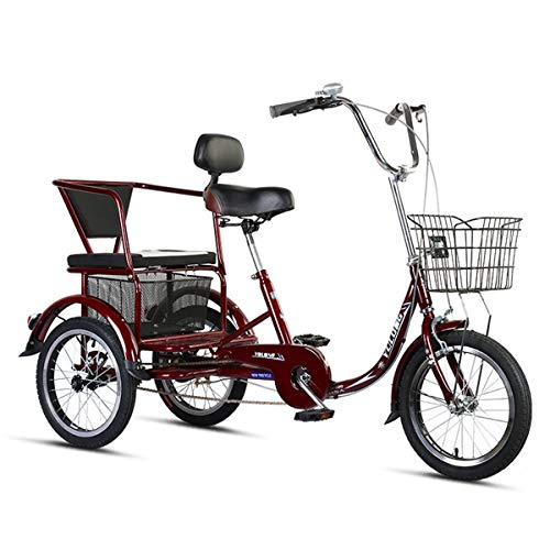ZFF Tricycle Adult 16inch 3-Wheel Bicycle With Back Seat Single Speed Trike Bike Cargo Basket Adjustable Seats And Handlebars Load 200kg For Seniors Women Men (Color : Wine Red)