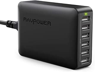 RAVPower 60W 12A 6-Port USB Charger Desktop Charging Station with iSmart, Compatible with iPhone Xs XS Max XR X 8 7 Plus, iPad Pro Air Mini, Galaxy S9 S8 S7 S6 Edge, Tablet, Kindle and More (Black)