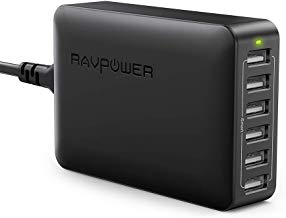 USB Charger RAVPower 60W 12A 6-Port Desktop USB Charging Station with iSmart Multiple Port, Compatible iPhone XS Max XR X 8 7 Plus, iPad Pro Air Mini, Galaxy S9 S8 S7 Edge, Tablet and More (Black)