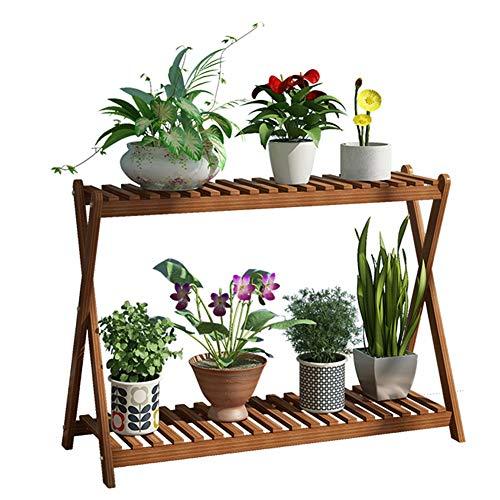 GMIN Mini houten plantenplantenplank | Plant aanduiding geleider plank bloempot rack bloementrap plank eenheid voor binnen en buiten 60/80 / 100cm bloemenrek