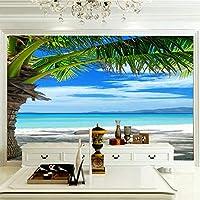 ZCLCHQ 写真の壁紙3D ビーチとヤシの木 壁紙海の景色の壁画リビングルームのソファベッドルームテレビの背景壁紙の壁紙 SIZE:250X175CM