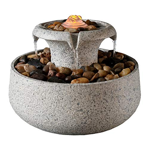 Peaktop 2-Tiered Natural Tabletop Waterfall Zen Fountain with LED Light, Stone Gray, 6.9
