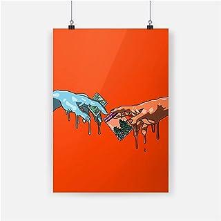 AZTeam Michel-Ange Drôle Art Affiche Imprime Toile Peinture Décor Mur Art Photos Chambre Maison Salon Décoration -50X70 Cm...