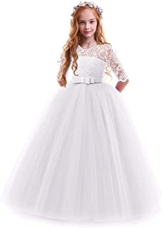 Girls Flower Vintage Floral Lace 3/4 Sleeves Floor Length...