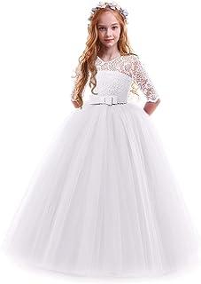 comprar comparacion IWEMEK Vestidos de Princesa Fiesta de la Boda de Las Niñas 3/4 Largo Manga Tul Vestidos de Dama De Honor Fiesta Graduación...