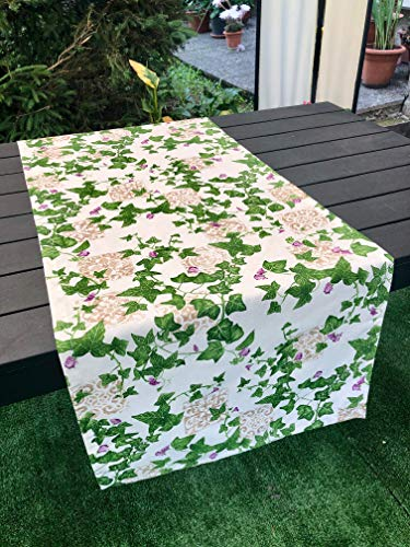 1KDreams Mantel de mesa de algodón Shabby Chic provenzal con hiedra, hojas y mayólicas (50 x 140 cm)