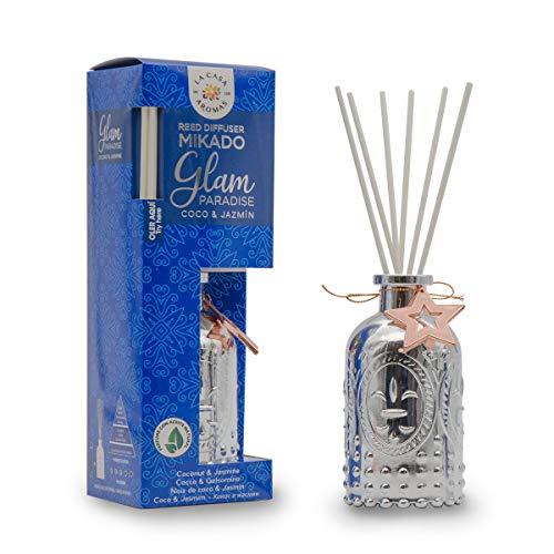La Casa de los Aromas, Ambientador Mikado Decorativo GLAM PARADISE, Aroma Coco & Jazmín, Aroma Duradero para el Hogar, Baño, Casa - 100 ml