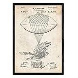 Nacnic Poster con Patente de Zepelin Humano. Lámina con diseño de Patente Antigua en tamaño A3 y con Fondo Vintage