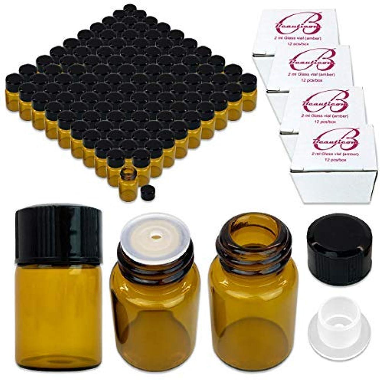 長くするサミュエルコインランドリー144 Packs Beauticom 2ML Amber Glass Vial for Essential Oils, Aromatherapy, Fragrance, Serums, Spritzes, with Orifice Reducer and Dropper Top [並行輸入品]