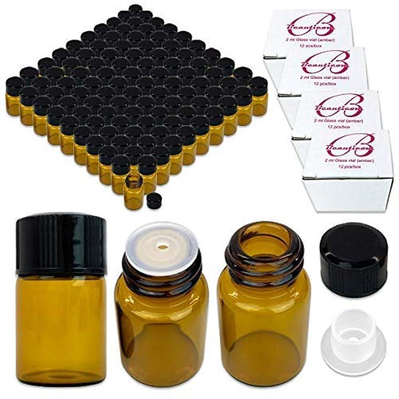 ストレス木曜日リンク144 Packs Beauticom 2ML Amber Glass Vial for Essential Oils, Aromatherapy, Fragrance, Serums, Spritzes, with Orifice Reducer and Dropper Top [並行輸入品]