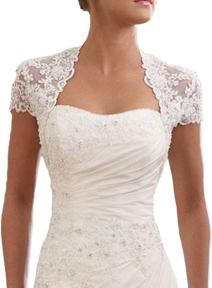 Snowskite Women's Elegant Cap Sleeves Lace Wedding Bridal Bolero