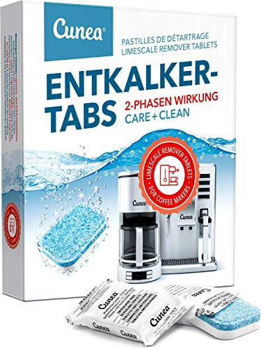 Entkalkungstabletten für Kaffeemaschinen und Wasserkocher 12x 2-Phasen Tabs - Cunea