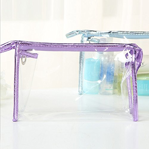 VWH Transparent Maquillage Cas Waterproof Cosmétique Sac de Toilette Zebra Voyage Sac Organisateur (violet)