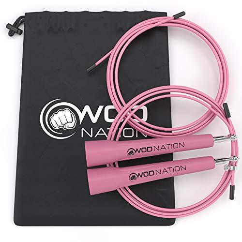 WOD Nation Speed Rope Springseil - Pink - Blitzschnelles High Speed Seil für Sportarten wie CrossFit, Boxen, MMA, Kampfsport oder einfach zum Fitbleiben. Einstellbar für Männer, Frauen und Kinder.