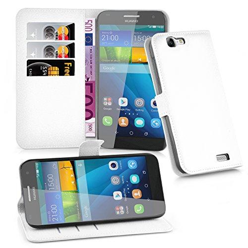 Cadorabo Hülle für Huawei G7 - Hülle in ARKTIS WEIß – Handyhülle mit Kartenfach & Standfunktion - Hülle Cover Schutzhülle Etui Tasche Book Klapp Style