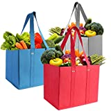 SZUAH 3 Pack Reusable Grocery Bags Shopping Box Set Collapsible Foldable Storage Box Durable Heavy Duty Grocery Totes Bag with Long Handles, Reinforced Bottom(Red/Blue/Grey)