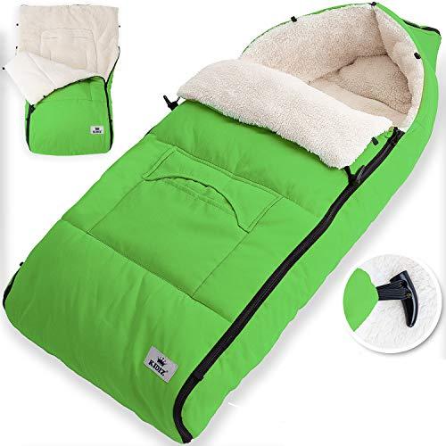 KIDIZ® Babyfußsack Baby Fußsack Winterfußsack Babyschale mit Reißverschluss Kuschelsack Babydecke Kinderwagen waschbar verschließbarer Kopfteil,Tasche, passend für alle Kinderwagen, Farbe:Grün