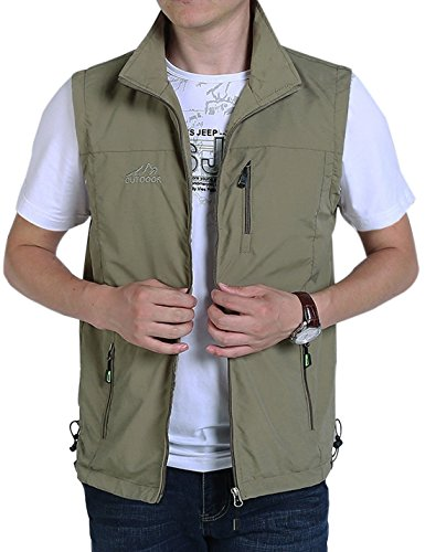Gihuo Men's Casual Outdoor Stand Collar Lightweight Quick Dry Travel Fishing Sports Vest Outwear (Khaki, Small)