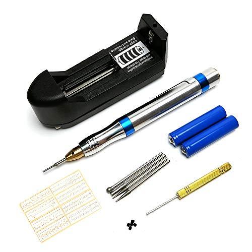 Queenser 20 pcs Kit de Ferramentas de Gravação Multi-Funcional Elétrica Micro Gravador Caneta Portátil Mini DIY Vibro Ferramenta de Gravação para Jóias Vidro Madeira Metal Metal Cerâmico Plástico