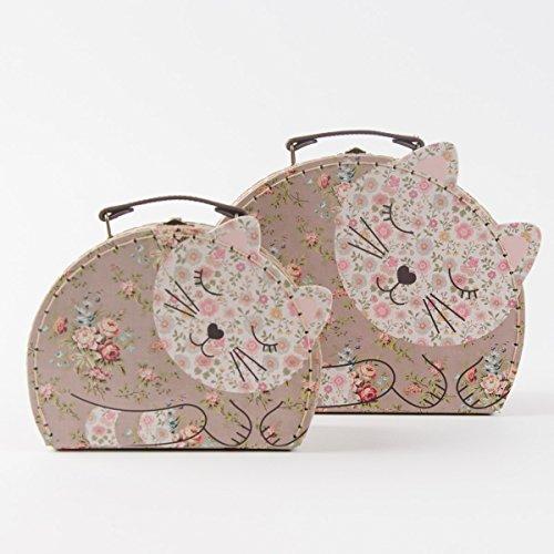 Koffer Kofferset Katze 2er Set braun rosa Rosen