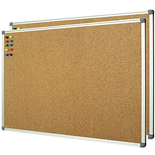 """Lockways Cork Board Bulletin Board, 2 Pack Double Sided Corkboard 36"""" x 24"""", Wall-Mounted Silver Aluminum Message Presentation Notice Board 3 x 2 Feet"""