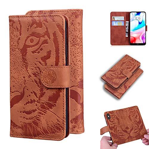 Snow Color Xiaomi Redmi 8 Hülle, Premium Leder Tasche Flip Wallet Case [Standfunktion] [Kartenfächern] PU-Leder Schutzhülle Brieftasche Handyhülle für Xiaomi Redmi 8 - COTX020710 Braun
