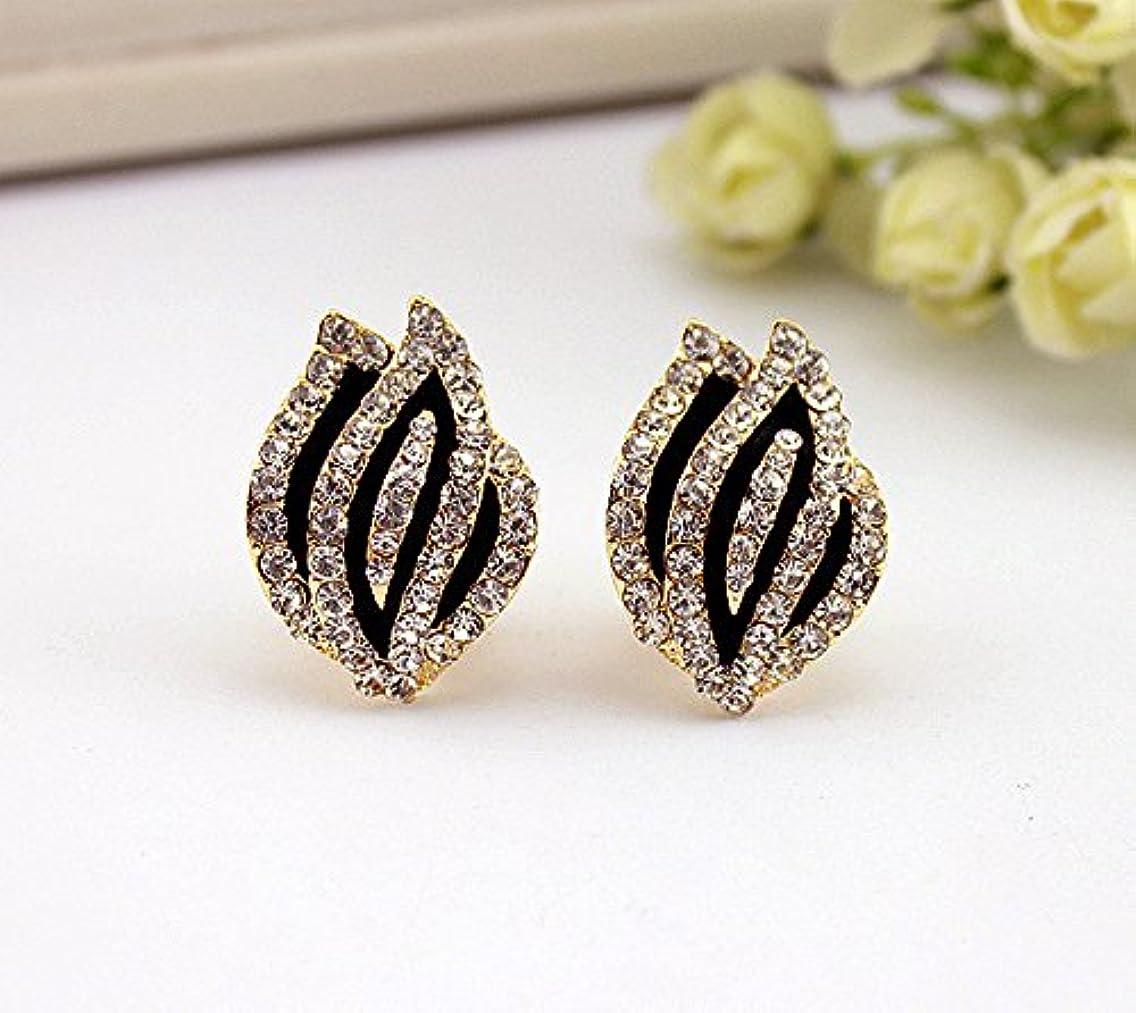 Fashion Korean version of the new full diamond earrings Zhuo Wen tulip flower bud delicate ear clip earrings earrings