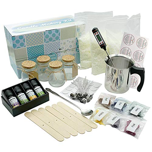 Complete DIY Candle Making Kit Supplies - Full Beginners Soy Candle Making Kit Including Soybean Wax, Dyes, Wicks, Pot, Tins & More