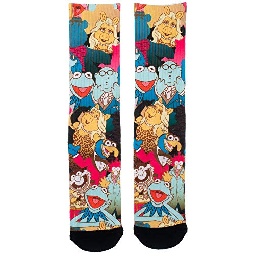 The Muppets Cartoon Faces Collage Sublimated All Over Print Men's Crew Socks