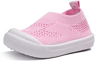 Sawimlgy Toddler Boys Girls Lightweight Breathable Mesh Sneakers Slip-On Shoes Running Walking Tennis Knit Sock Shoes (Little Kids/Baby) Grey Size: 10 Toddler