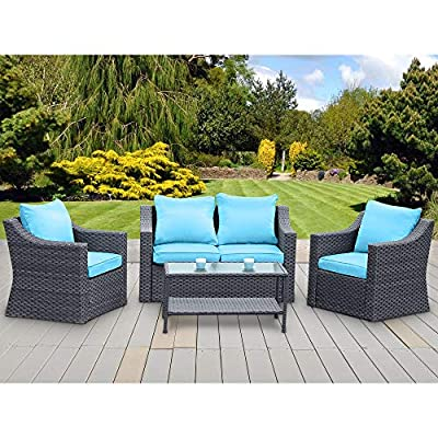 Stamo 5 Piece Outdoor Patio Conversation Furniture Sets, All Weather Charcoal PE Rattan Wicker Cushioned Sectional Sofa Chairs with Olefin Blue Cushions