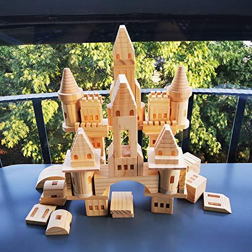 letaowl Bloques de Construcción para Niños 75pcs niños Originales Castillo de Madera Building Blocks/niños Registro Madera construcción Bloque DIY Pintura Juguete