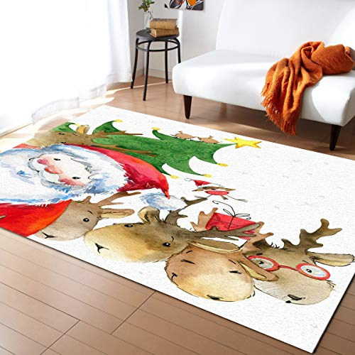 Crystal Emotion Area Rug Runner 5x7ft, Christmas Santa Reindeer Cartoon Outdoor Runner Rugs Carpet for Hallway/Bedroom/Kitchen/Living Room/Indoor, Low Profile Pile, Non Slip, Cute Animal Xmas Tree