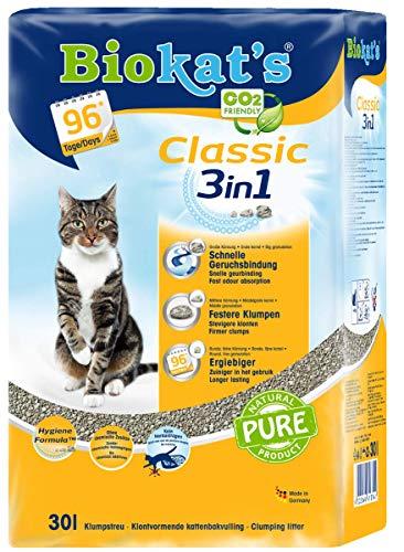 Biokat's Classic 3 in 1 lettiera per gatti senza profumo – lettiera per gatti di alta qualità con 3 diverse dimensioni di grano.