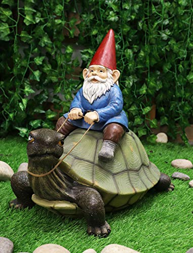 Ebros Large 17.25' Long Whimsical Travelling Mr Gnome On Giant Turtle Ride Decorative Statue Magical Journey Gnomes Tortoises Turtles Figurine