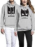 VIVAMAKE Set de 2 Sudaderas para Parejas Hombre y Mujer con Diseño Batman y Catwoman