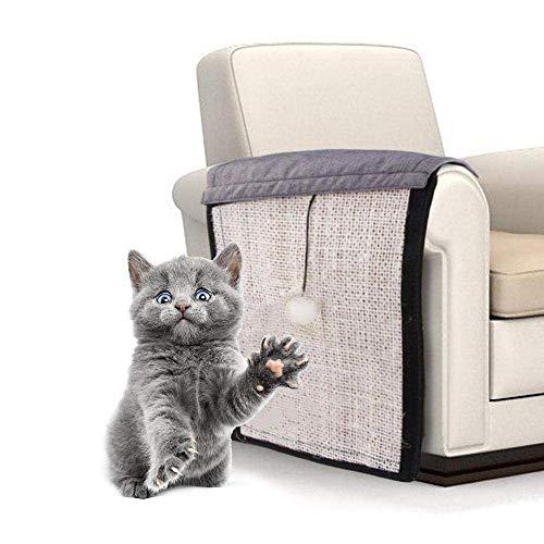MZH Alfombrilla para rascar Gatos, Protector de sofá de sisal, Alfombrilla para rascar Gatos con Juguete Interactivo, Tablero para rascar Gatos para Envolver Alrededor de Muebles, sofá, Silla, Patas