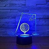 Wfmhra Golf 7 Colores Cambio lámpara de Noche LED Deporte luz de Mesa 3D para niños lámpara de Dormir decoración del hogar decoración del Arte Regalos para papá Hombre