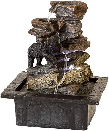 Nativ Zimmerbrunnen mit LED-Beleuchtung, Motiv-Brunnen beleuchtet, Indoor-Brunnen aus Polyresin mit Pumpe und Beleuchtung, Bär, 21,5 x 18,8 x 26,7 cm