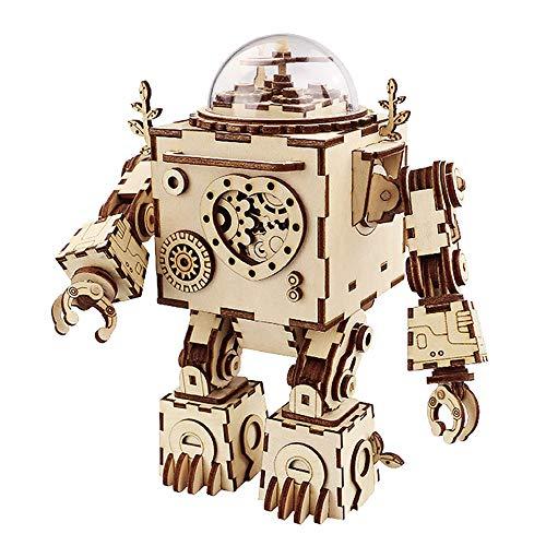 JIN GUI 3D Robot Puzzle, Gear Clockwork Structure Caja de música de Madera Mecánica Juguete Ligero Brazo Giratorio Gratuito Corazón Brillante, para Adultos Niños Edad 14+ Regalo de cumpleaños