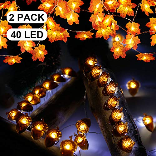 Mudder Thanksgiving Decoration Fall Maple Leaf String Lights Acorn LED Lights Total 40 LED 14.4 ft Halloween Christmas String Lights Battery for Holiday Birthday Autumn Garland Decoration