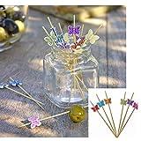 TIIPLII - 100 bastoncini da cocktail a forma di farfalla, 12 cm, per feste, cibo, dessert,...