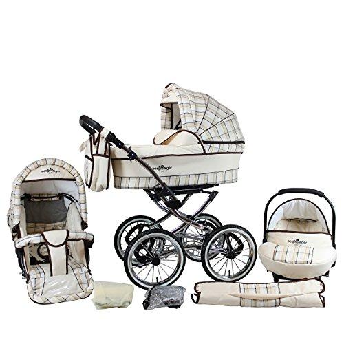 Bergsteiger Venedig Nostalgie Kinderwagen 3 in 1 Retro Kombikinderwagen Megaset 10 teilig inkl. Babyschale, Babywanne, Sportwagen und Zubehör (classic beige)